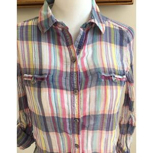 [old navy] blue plaid roll up sleeves dress shirt